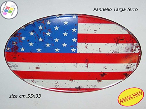 Panneau Plaque Tableau ovale métal vieilli cm.55 x 55 United States