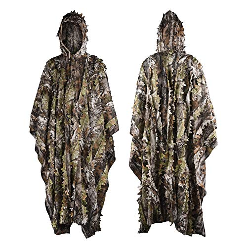 LOOGU Ghillie Suits, Poncho Style Ghillie Suit 3D Leaf Super Lightweight Camouflage Outfit for Hunting, Shooting, Wildfowl, Paintball, Bird Watching, Halloween or Christmas