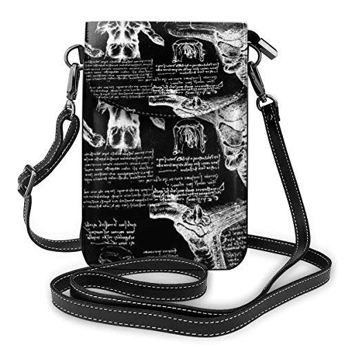 QQIAEJIA Sac à main en cuir pour téléphone, petit sac à bandoulière Da Vinci Anatomy Mini sac à bandoulière pour téléphone portable pour femme