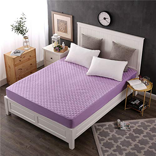 GTWOZNB Soft Plain Dyed Fitted Bed Sheets,Double,King, Bed sheet non-slip dustproof hotel-word_180*200cm