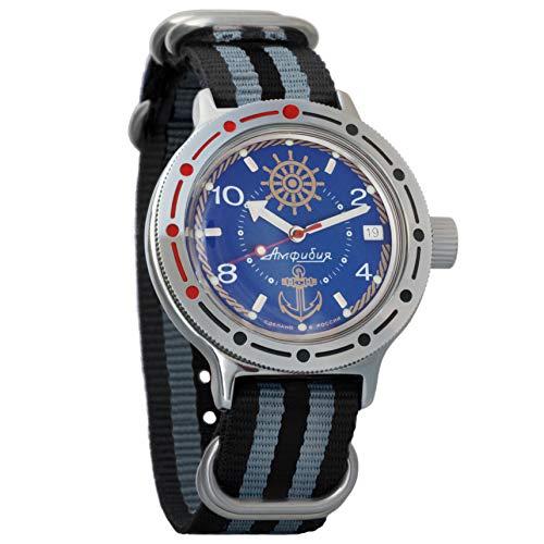 Vostok Amphibian automático para hombre reloj de pulsera automático automático de cuerda automática de buceador militar anfibia caso reloj #420374