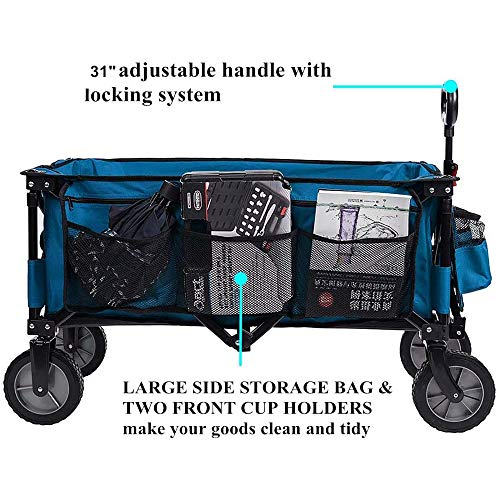 Timber Ridge Camping Wagon Folding Garden Cart Shopping Trolley Collapsible Heavy Duty Utility Use with Side Bag and Storage Bag, Blue-side bag