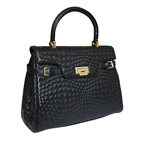 Fontanelli Damen Designer geflochtenem Leder Grab Handtasche Schultertasche (schwarz)