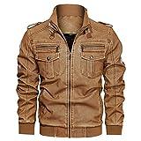 Chejarity Veste en cuir pour homme avec capuche - Veste de moto rembourrée - Hiver - Coupe-vent -...
