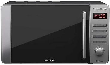 Cecotec Microondas acero inoxidable ProClean 5010 Inox. Revestimiento Ready2Clean para mejor limpieza.Tecnología 3DWave. Capacidad 20 L, Diseño elegante tirador inox. 8 programas predeterminados.