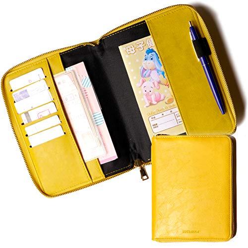 (LUCIANNA) マルチケース 母子手帳ケース 手帳型 通帳ケース かわいい 革 おしゃれ パスポートケース 通帳入れ (イエロー)