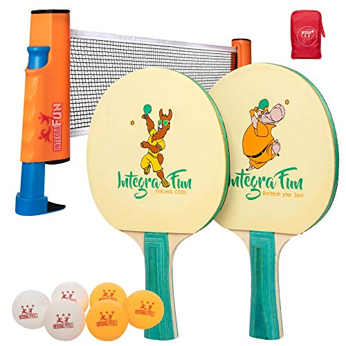 IntegraFun Table Tennis Set for Kids - Ping Pong Paddles Set of 2 with Retractable Net, Balls and Portable Case - Travel Ping Pong - Indoor/Outdoor Games - Quarantine Family Fun Games