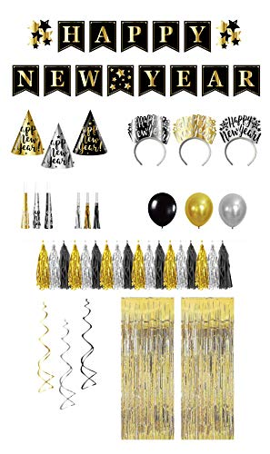 Serves 12 | New Years Eve Party Kit | Assortment for 12 | Includes Banners, Tassel Garland, Paper Hats, Tiaras, Horns, Squawkers, Balloons, Swirls and Fringe Curtains