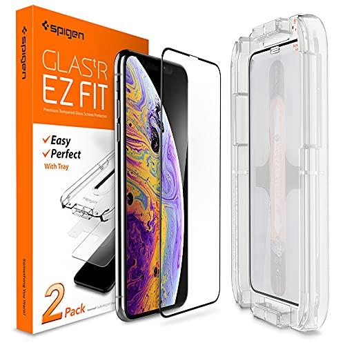 Spigen, 2Pezzi, Vetro Temperato Compatible con iPhone XS/X, 5.8 Pollici, Ez Fit, Kit di Installazione Incluso, Custodia Compatibile, Compatibile con Face ID