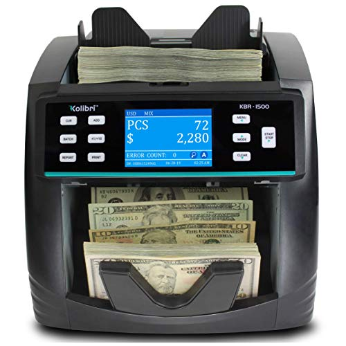 KBR-1500 Bank Grade Mixed Denomination Bill Money Value Counter with Advanced UV/MG/MT/IR/2CIS Counterfeit Detection, Multi-Currency (USD, CAD, MXN),...