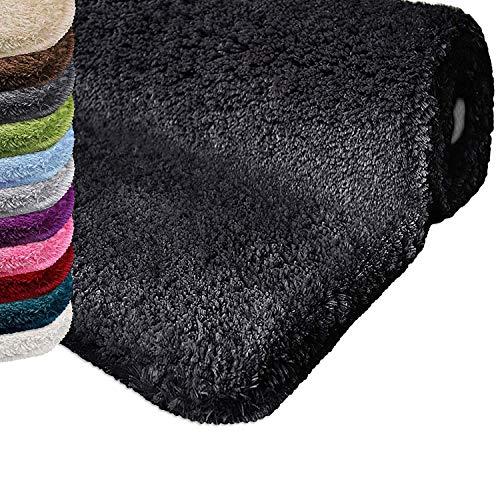 casa pura Tapis de Bain Qualité Premium Oeko Tex | Epais, Moelleux, Absorbant | Lavable en Machine | Nombreuses Tailles et Couleurs | Noir - 50x60cm