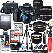 Canon T7 EOS Rebel DSLR cámara con lente EF-S 0.709-2.165in f/3.5-5.6 es II y dos (2) tarjetas de memoria SDHC de 16 GB más kit de limpieza de batería doble paquete de accesorios