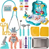 Liberty Imports Doctor Kits with Real Working Stethoscope | Stainless Steel Toy Medical Tools Set for Kids Imagination Pretend Play with Realistic Working Accessories and Carrying Case