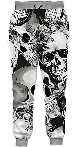 ALISISTER Mens Boys Jogger Pants 3D White and Black Skull Sweatpants Sportswear Athletic Pants Casual Hipster Running Cuffed Pants Long Trousers XL