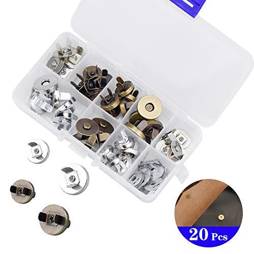 DESON 10PCS Magnetknöpfe Magnetverschluss 18MM 10PCS Magnetische Druckknöpfe 14MM Ohne Nähen für Nähen Stricken DIY Basteln Taschen Mäntel Silber Bronzen
