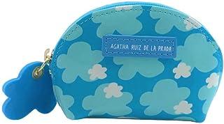 Monedero pequeño de Mujer de Cuero Estampado con Nubes Azul Cierre con Cremallera Agatha Ruiz de la Prada