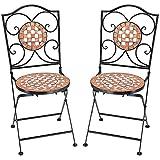 Deuba Set de 2 Sillas Mosaico »GERNIKA« Asiento de cerámica Plegables 36x45x94cm para balcón jardín terraza Patio