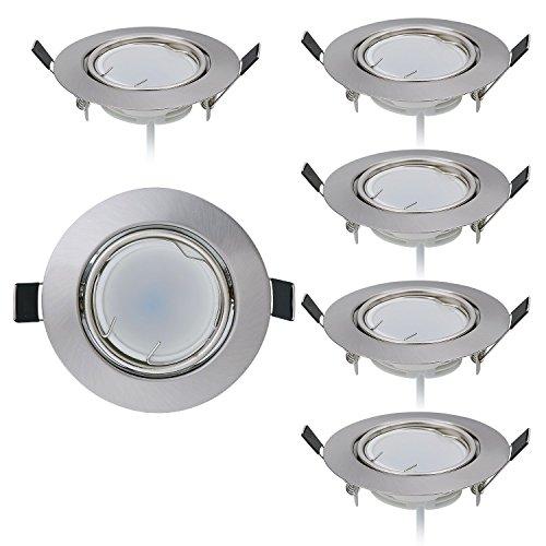 HCFEI 6er set LED Einbaustrahler dimmbar flach 5W 230V rund schwenkbar Einbauspot 70mm Bohrloch Einbauleuchte Wandleuchte, Warmweiß 3000K