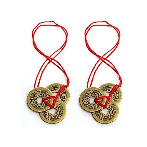 Homiki . Moneda de la suerte china antigua, amuleto de la suerte, incluye cinta de color rojo, riqueza y éxito, monedas feng-shui