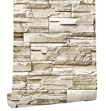 Papel pintado de vinilo autoadhesivo 3D con efecto de piedra de ladrillo cultural para pared,...