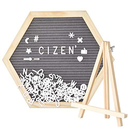 Cizen Fieltro Letter Board - Tablero de Letras con Soporte de Madera y 340 Blancas Letras & Números, 12,8 * 11in/32,5 * 28cm