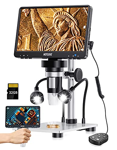 7'' Digital Microscope1200X with 1080P Video,12MP Camera Electronic Video Microscope with LCD Screen, 32GB SD Card for Adults Soldering,Coins,Metal Stand, Support Windows/Mac(2 LED Lights)