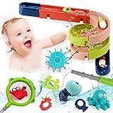 Lehoo Castle Badespielzeug Baby ab 1 Jahr - Badewannenspielzeug mit BAU-Puzzle Autorennbahn, 26 Stück Wasserspielzeug Badespielzeug Kinder 2-in-1 Fischernetz Spielzeug
