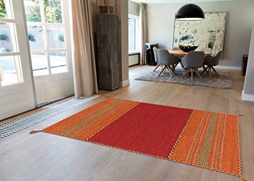 One Couture Arte Espina - Tappeto 100% lana Kilim Fransen, 100% cotone, Colore: rosso, 120 x 170 cm