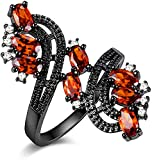 Uloveido Womens Black Vintage Gothic Ring Red Cubic Zirconia Flower Ring Ideas de regalos para niñas J656 (Tamaño 14)