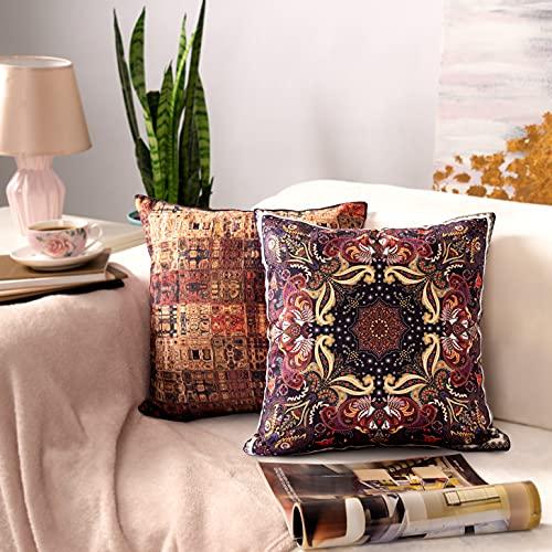 AMITRIS Funda de Cojín 40x40 / 45x45 cm 2 Pack el Chenille   Almohadas Decorativas con Diferentes anverso y Reverso   Funda de Almohada para Dormitorio Sala de Estar al Aire Libre