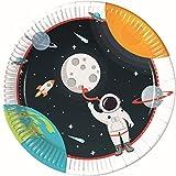 Procos 90295 - Piatti per feste, 8 pezzi, diametro 23 cm, piatti di carta, piatti usa e getta, decorazione da tavolo, festa, astronauta, pianeti