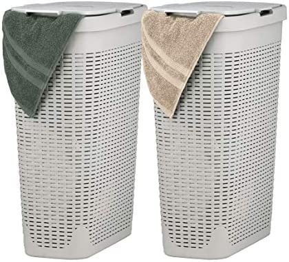 Superio Slim Laundry Hamper Beige 40 Liter 2 Pack Durable Plastic Hamper Basket with Lid Durable product image