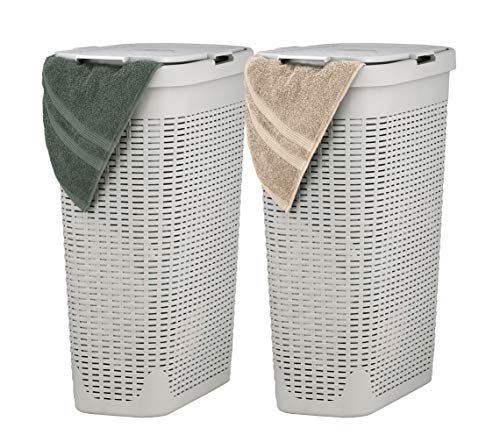 Superio Slim Laundry Hamper Beige 40 Liter (2 Pack) Durable Plastic Hamper Basket with Lid, Durable...