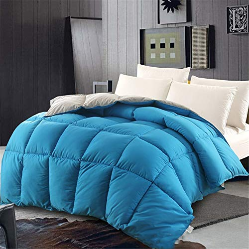 BEDSETS King Size 13.5 Tog - White Goose Feather & Down Duvet - 100% Cotton Anti Dust Mite & Down Proof Fabric - Box Stitched -Anti Allergen Winter Quilt (Blue,200x230cm 5 kg)
