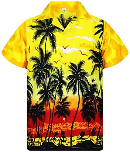 V.H.O. Funky Hawaiian Shirt, Shortsleeve, Beach, Yellow, L