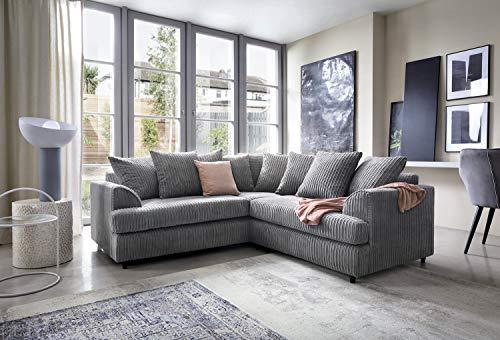 Abakus Direct Ferguson Ecke Sofa in Cord Chenille-Stoff–Grau