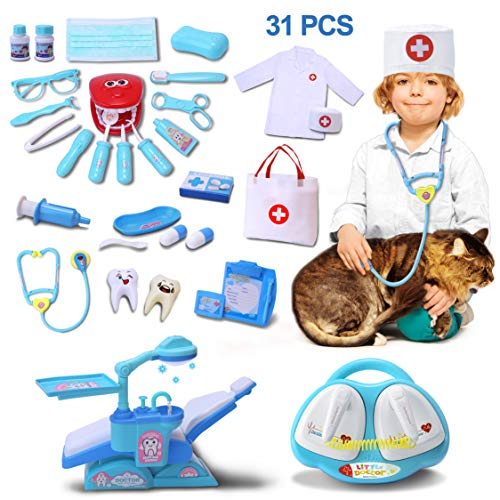 VIAME Toy Medical Set Doctor Kit for Kids | 31 Pcs Doctor Toys Including Dentist Toys Kit and Doctor Coat  Jumbo Children Play Set with Stethoscope Cardiac Pacemaker and Dental Unit Chair Role Play