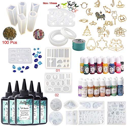 Résine UV cristalline avec 18 moules et 28 pigments et 17 cadres à cadre ouvert, kit de fabrication de bijoux en résine 500ML pour cadeaux faits à la main en résine, bricolage
