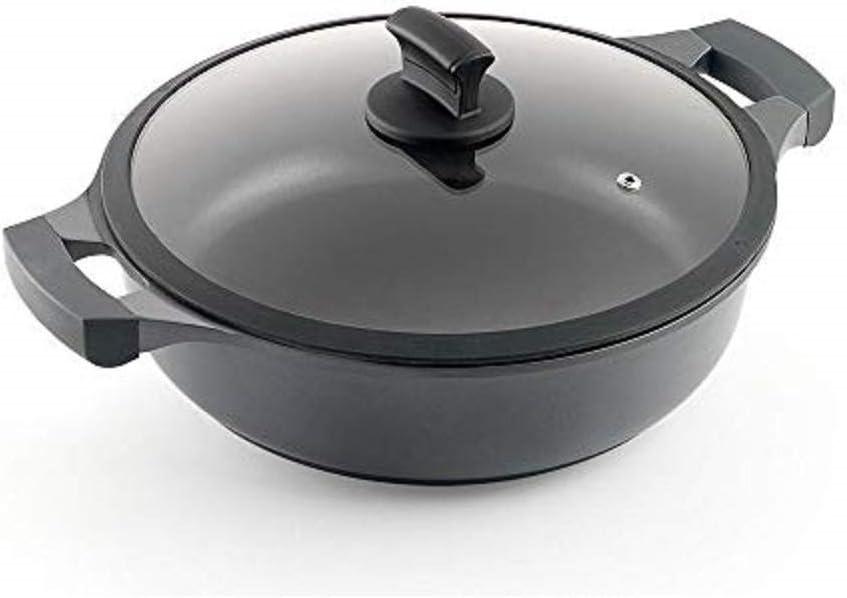 Metaltex XPERT-Cacerola Baja Aluminio Fundido, 28 cm, Antiadherente ILAG 3 Capas, Full Induction válido para Todo Tipo de cocinas, Negro