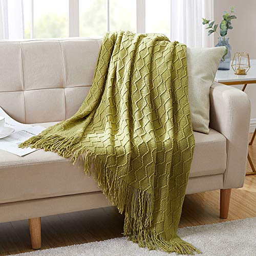 """Bourina Textured Solid Soft Sofa Throw Couch Cover Knitted Decorative Blanket, 50"""" x 60"""", Olive Green"""