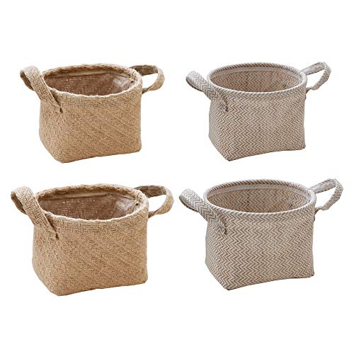æ— Handmade Storage Baskets,Jute Woven Nesting Baskets Shelf Baskets Organizing Storage Baskets Decorative with Side Handles Perfect for Household Items