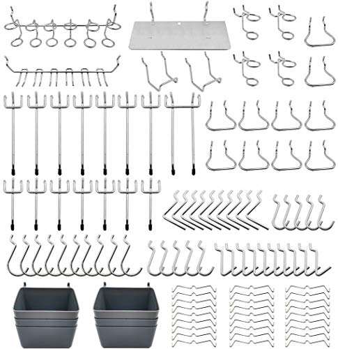 Pegboard Hooks Assortment, Plastic Bins, Peg Locks, for Organizing Tools, 140pcs