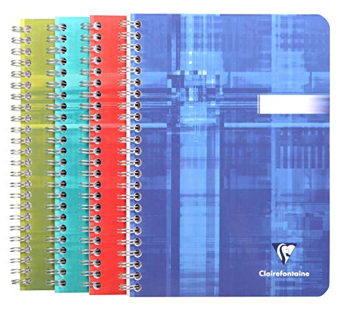 Clairefontaine 8546C Spiralbuch (DIN A4, 14,8 x 21 cm, liniert, 90 Blatt) 1 Stück farbig sortiert