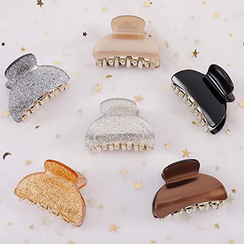 atnight Haarklauenclips für Frauen, 6 Stück French Design Haarspangen Rutschfeste Acrylklauen-Haarspangen Backenclip Fashion Pure Color Haarspange Zubehör für...