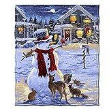 Dawhud Direct Snowman and Friends Holiday Lights Super Soft Plush Fleece Throw Blanket