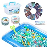 MAGICLUB Water Beads,24 Pcs Sea Animals Tactile Sensory Experience Kit & 5 Colors Sensory Water Gel Soft Beads Growing Jelly Balls for Spa Refill, Pool & Decor-Inflatable Water Mat Include