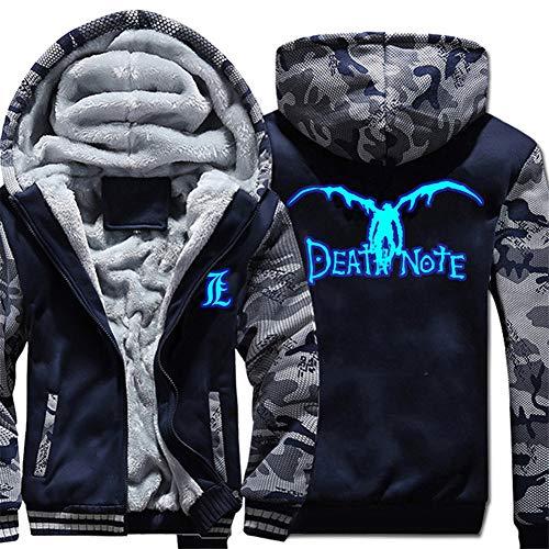 Gumstyle Death Note Anime Thicken Hoodie Jacket Unisex Camo Zip Luminous Sweatshirt 1-M