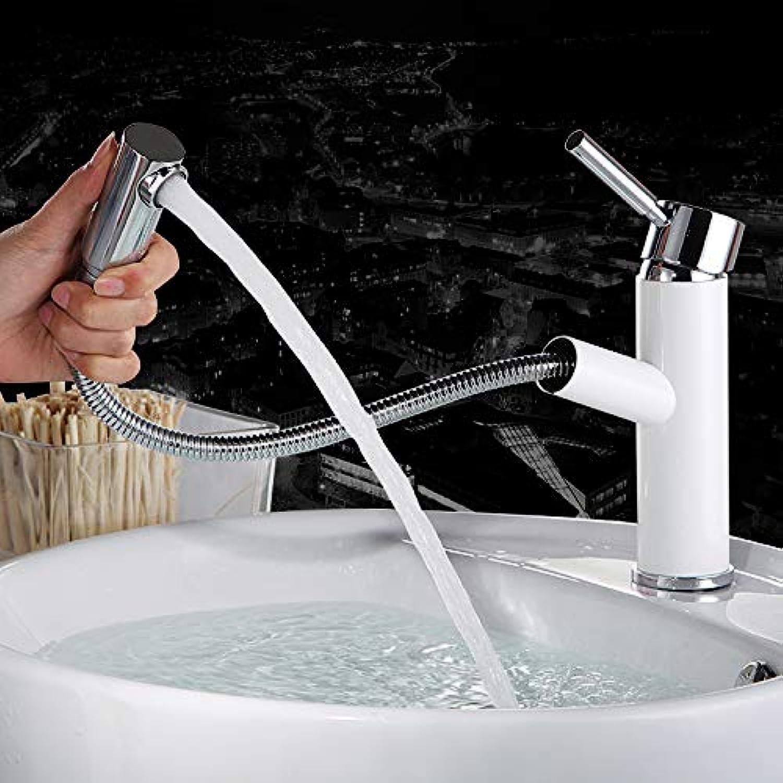 LHbox Bad Armatur in Bad für Waschbecken Waschtisch Wasserhahn Waschtischarmatur Waschbecken Kaltes Wasser und Ziehen die Ganze Kupfer Wasserhahn, Wasserhhne,