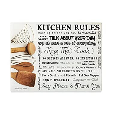Moni's Cozy Kitchen - Kitchen Rules Tempered Glass Utility Board, Cutting Board, Serving Tray, Hot Plate, Cheese Platter