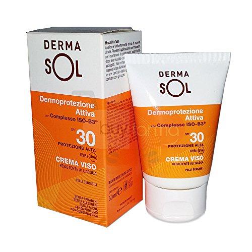 Solari Dermasol - Crema Solare Viso SPF 30 da 50ml - Resistente all'acqua